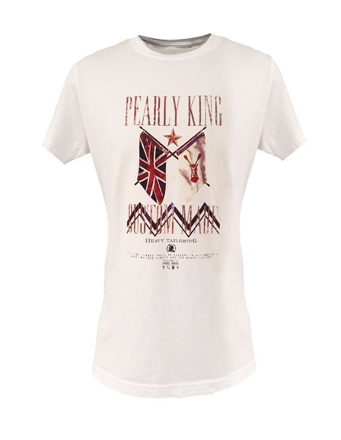 Picture of Pearly King White Flag Print Tee