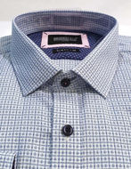 Picture of Brooksfield Blue Cross Check Luxe Shirt