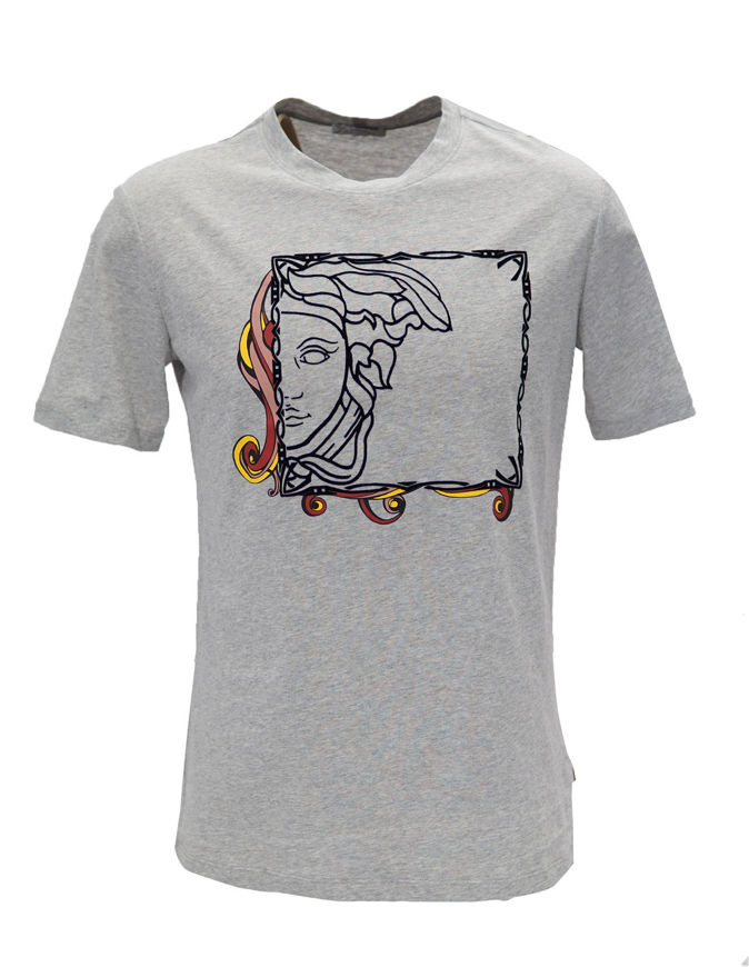 Picture of Versace Fantasy Frame Velvet Medusa Grey T-shirt