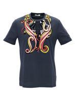 Picture of Versace Fantasy Velvet Embossed Navy T-shirt