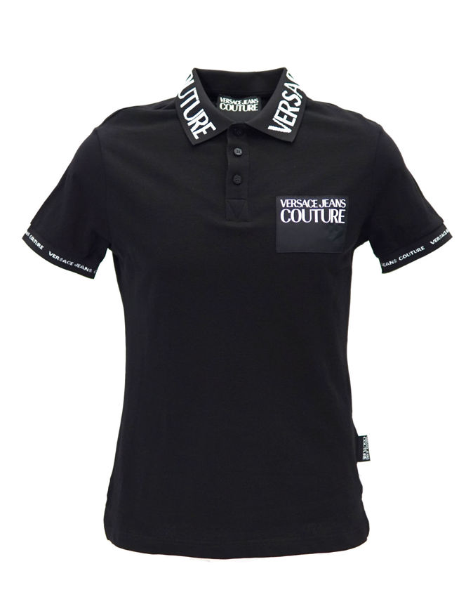 Picture of Versace Jeans Couture Logo Slim Fit Black Polo