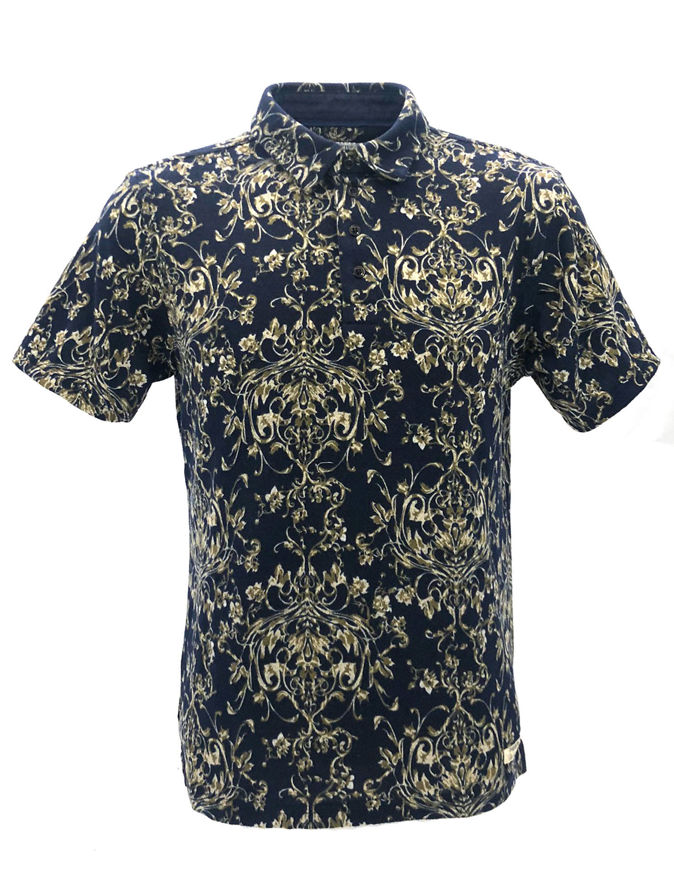 Picture of Pearly King Floral Knitted Navy Polo