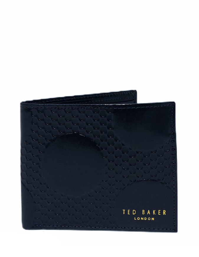 Picture of Ted Baker Navy Spot Embossed Leather Bifold Wallet