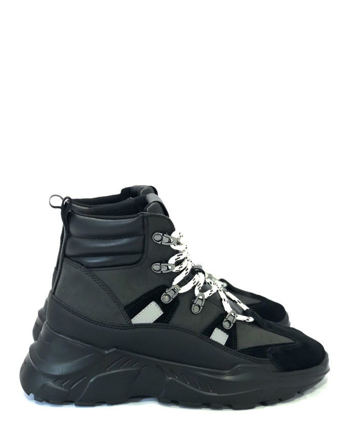 Picture of Versace Jeans Couture Leather & Suede Hi-top Sneaker