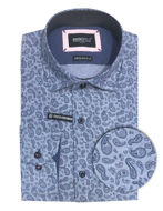 Picture of Brooksfield Paisley Print Blue Shirt
