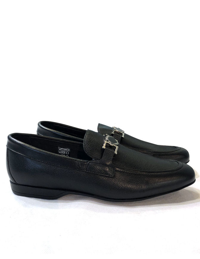 Picture of Versace Genuine Leather Slip-Ons in Black