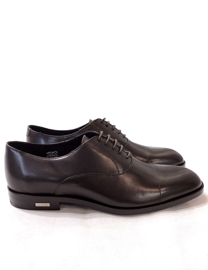 Picture of Versace Genuine Leather Lace-up Brown Shoes
