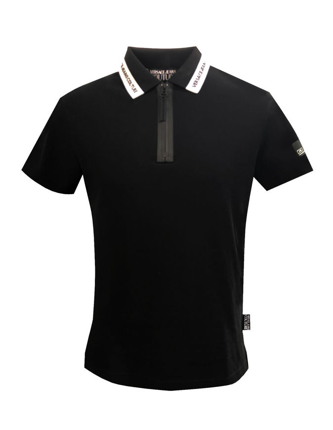 Picture of Versace Jeans Couture Black Logo Details Polo