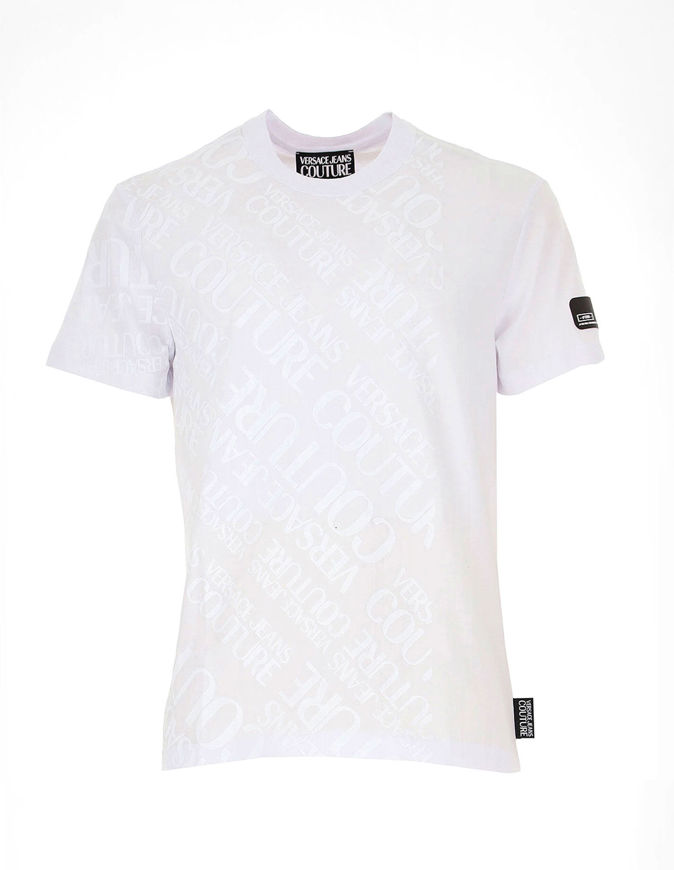 Picture of Versace Jeans Couture White Logo Lettering Tee