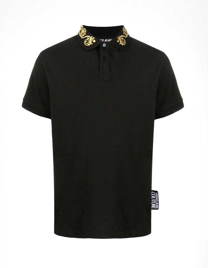 Picture of Versace Gold Baroque Black Polo