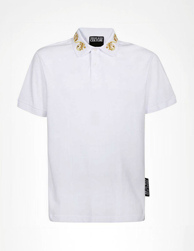 Picture of Versace Gold Baroque White Polo
