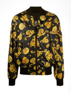 Picture of Versace Black & Gold Jewel Baroque Reversible Bomber Jacket