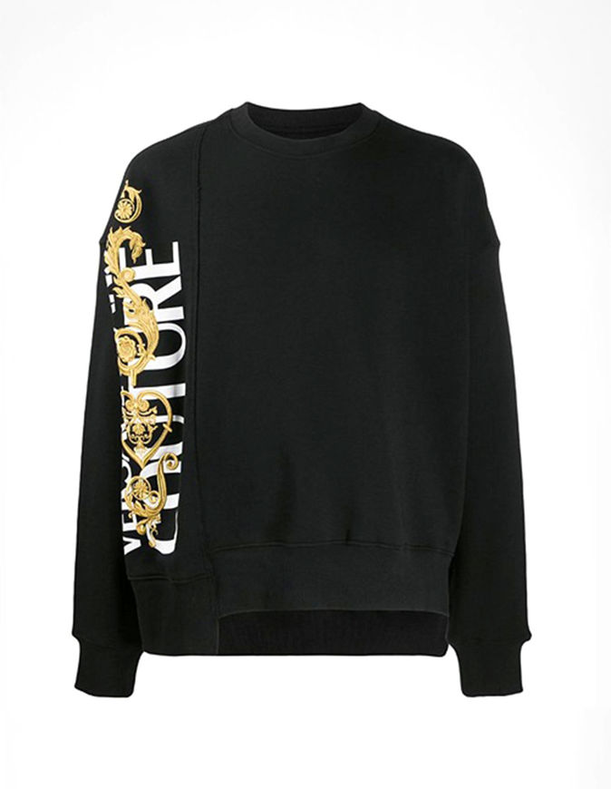 Picture of Versace Black & Gold Baroque Embroidered Sweat