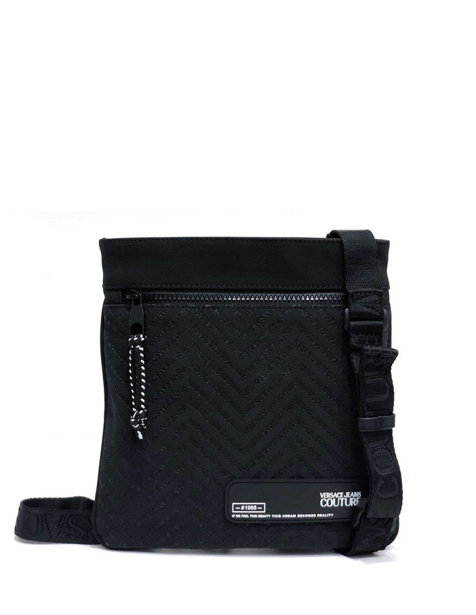 Picture of Versace Chevron Logo Black Messenger Bag