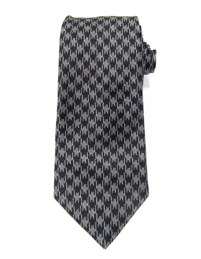 Picture of Hemley Grey & Black Houndstooth Silk Tie