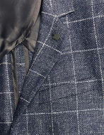 Picture of Karl Lagerfeld Navy Linen & Wool Check Blazer