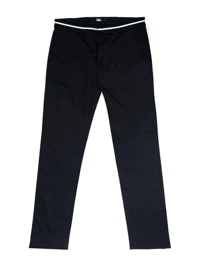 Picture of Karl Lagerfeld Contrast Waistband Stretch Black Pant