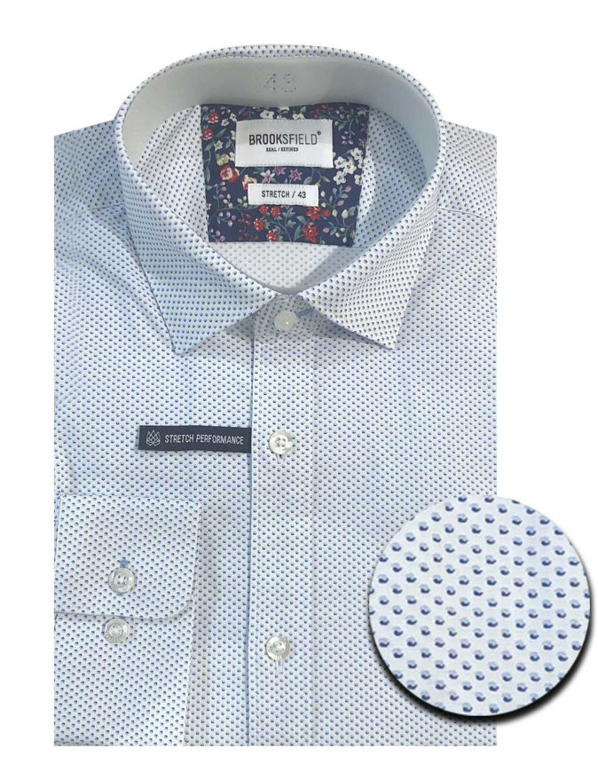 Picture of Brooksfield Blue Dots Pattern Stretch Real Shirt