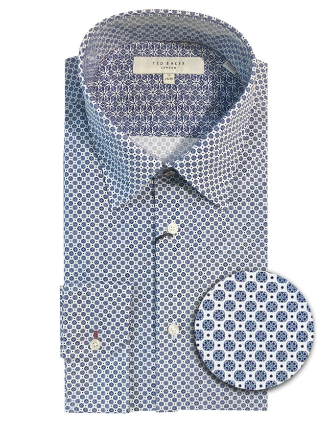 Picture of Ted Baker Endurance Geo Timeless Blue Stretch Shirt