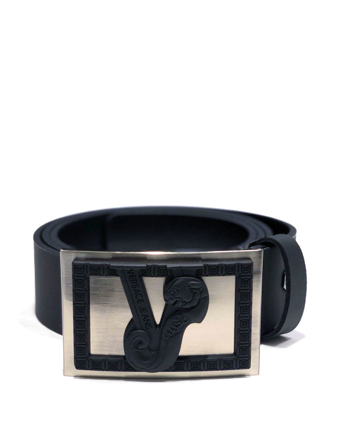 Picture of Versace Jeans Silver Black Stud Belt