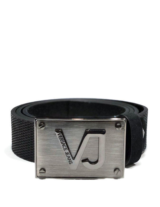 Picture of Versace Jeans Silver Plated VJ Textured Belt