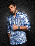Picture of Au Noir Stretch Satin Cruz Blue Shirt