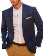 Picture of Studio Italia Navy Check Wool Linen Blazer