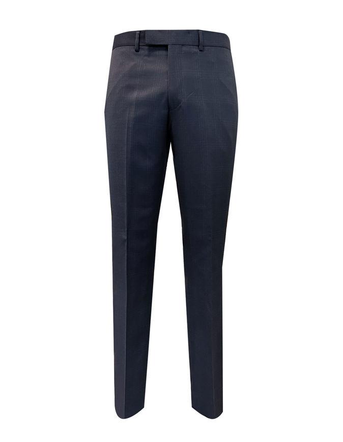Picture of Studio Italia Slim Dark Navy Check Trouser