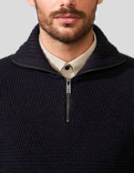 Picture of No Excess Navy Zip Collar Pullover Knit