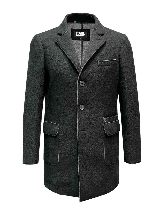 Picture of Karl Lagerfeld Black Lasercut Felt Overcoat
