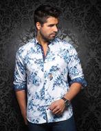 Picture of Au Noir Hendrick Cotton Blue White Shirt