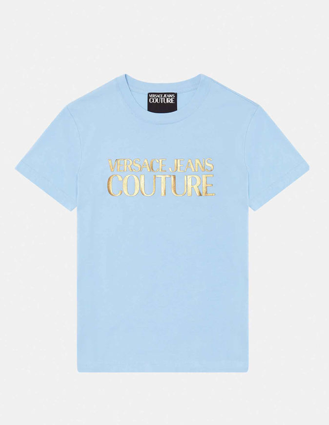 Picture of Versace Gold Logo Embossed Blue Slim Tee
