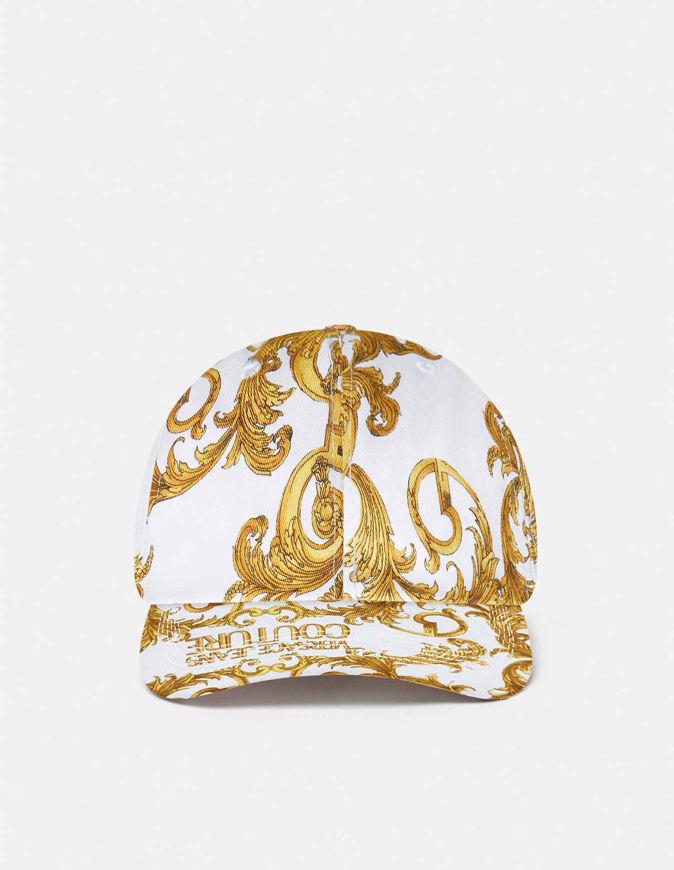 Picture of Versace Logo Baroque Print White Cap