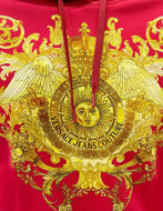 Picture of Versace Red Rococo Print Hood Sweat