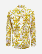 Picture of Versace White Logo Baroque Twill Slim Shirt