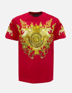 Picture of Versace Red Rococo Print Slim Tee