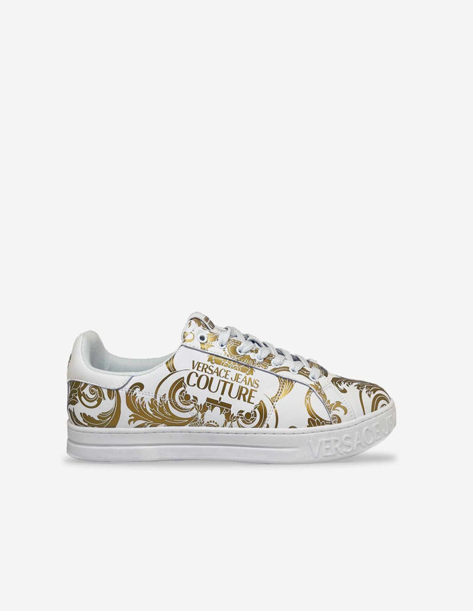 Picture of Versace White Logo Baroque Sneakers
