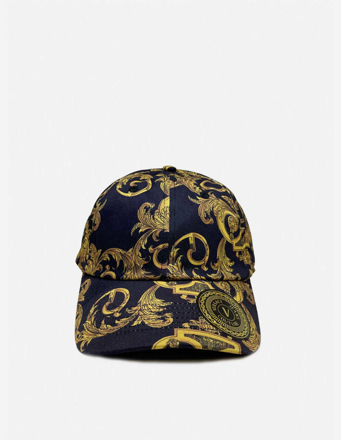Picture of Versace Logo Baroque Print Black Cap