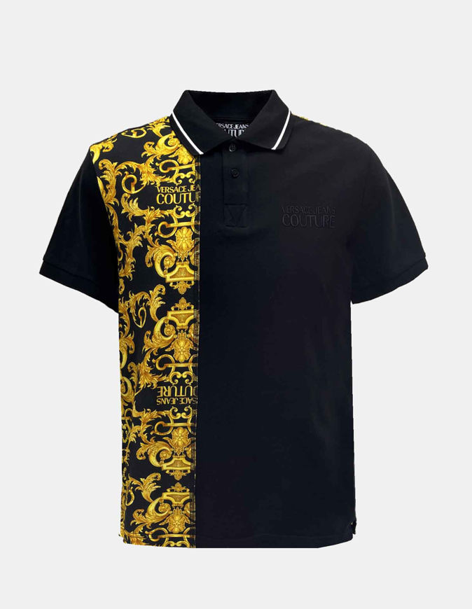 Picture of Versace Black Logo Baroque Contrast Print Polo