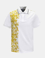 Picture of Versace White Logo Baroque Contrast Print Polo