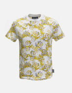 Picture of Versace White & Gold Baroque Slim Tee