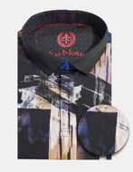 Picture of Au Noir Pierce Cotton Abstract Short Sleeve Stretch Polo