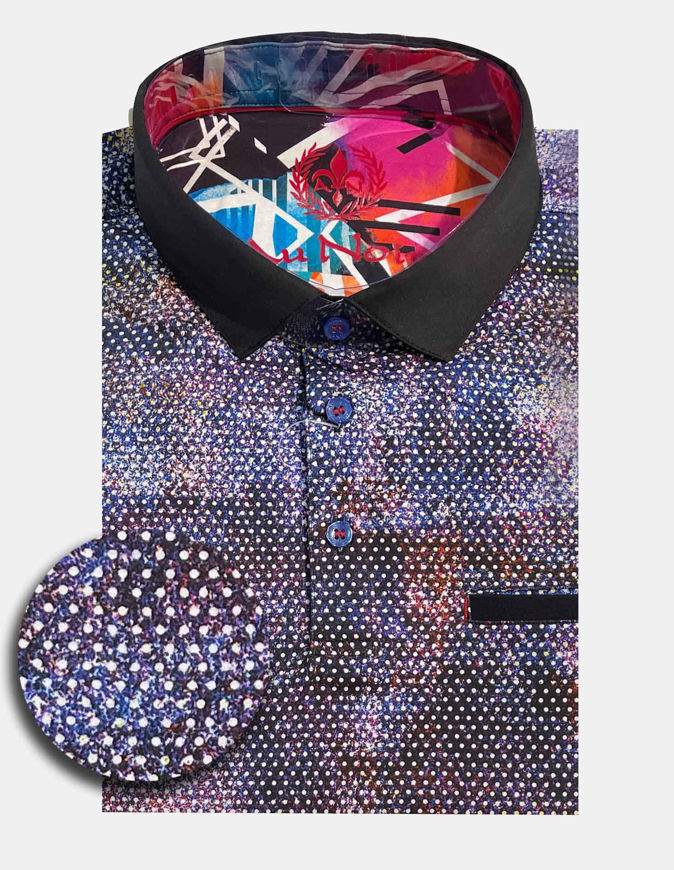 Picture of Au Noir Nash Cotton Abstract Short Sleeve Stretch Polo