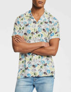 Picture of Gaudi White Floral Print Bowling Short Sleeve Shirt